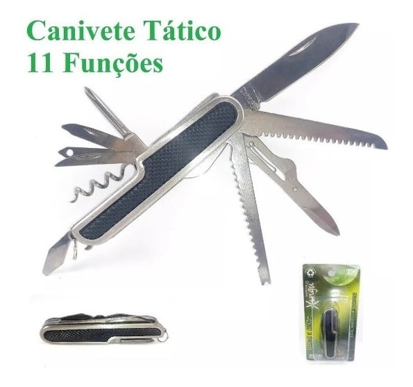 CANIVETE TÁTICO INOXIDÁVEL - 11 FUNÇÕES