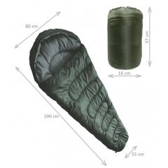 Saco de dormir verde oliva modelo sarcofago